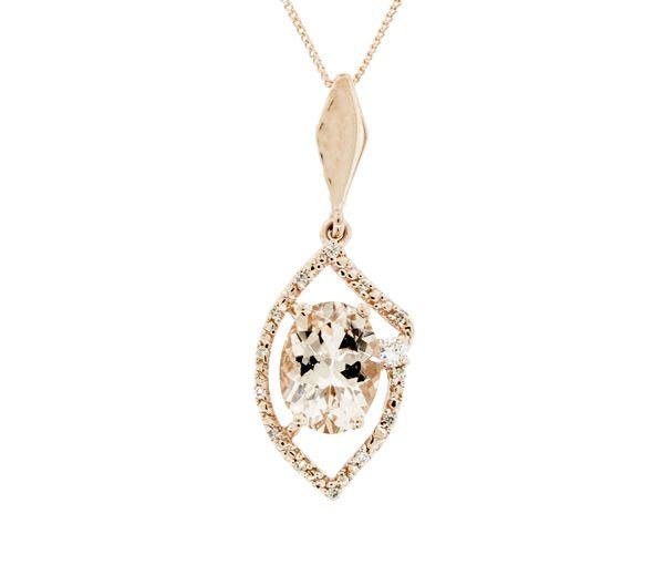 Superbe pendentif pour dame en or 10k rose serti d'une morganite d'un diamant canadien et de diamants
