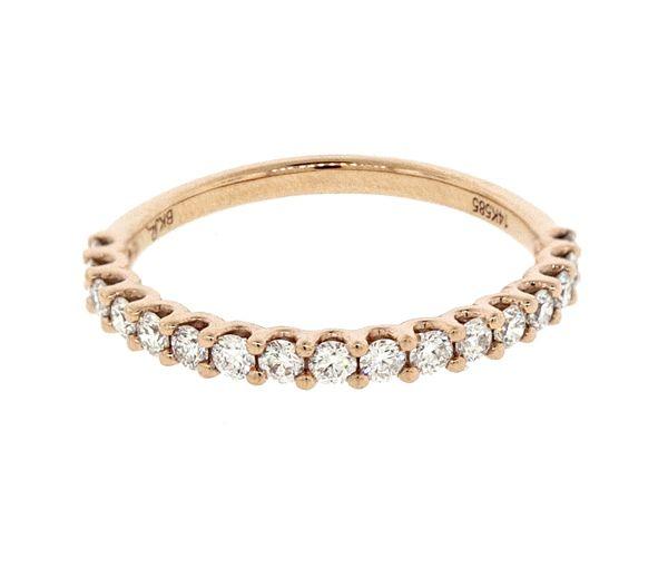 Superbe jonc semi-éternité pour dame en or 14k rose serti de diamants