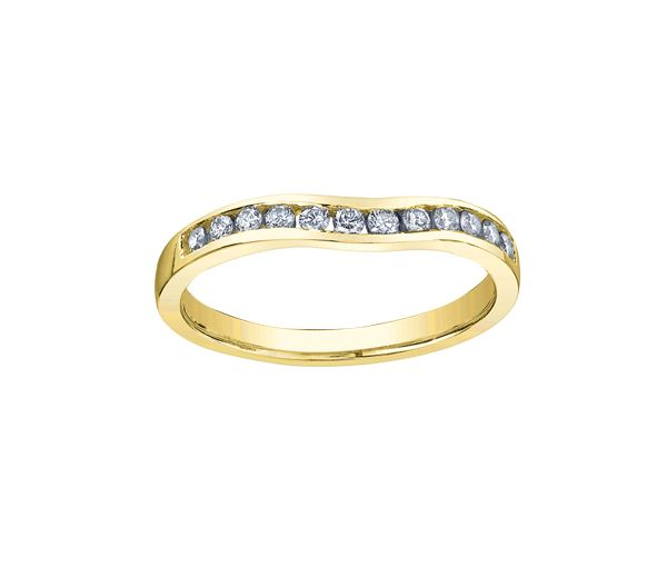 Joli jonc contour pour dame en or 14k serti de diamants
