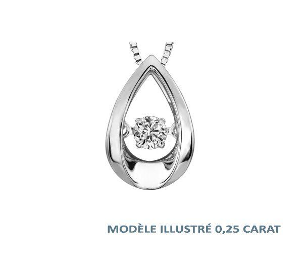 Pendentif 10k blanc 0,03 diamant pulse 18''