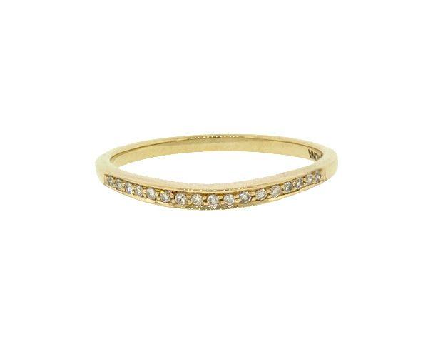 Joli jonc contour pour dame en or 10k serti de diamants