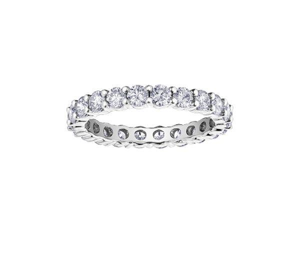 Magnifique jonc éternité pour dame en or 10k blanc serti de diamants