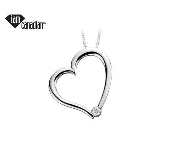 Pendentif coeur 10k blanc 0,03 diamant canadien i118''