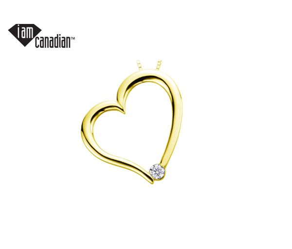 Pendentif coeur 10k 0,03 diamant canadien i1 18'' c=h