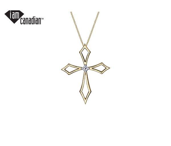 Délicat pendentif croix pour dame en or 10k serti d'un diamant canadien