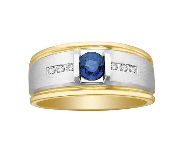 Bague homme or 10k 2 tons sertie de diamants et d'un saphir bleu