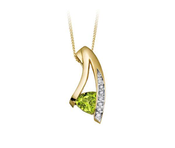 Pendentif coquet pour dame en or 10k serti d'un péridot et de diamants