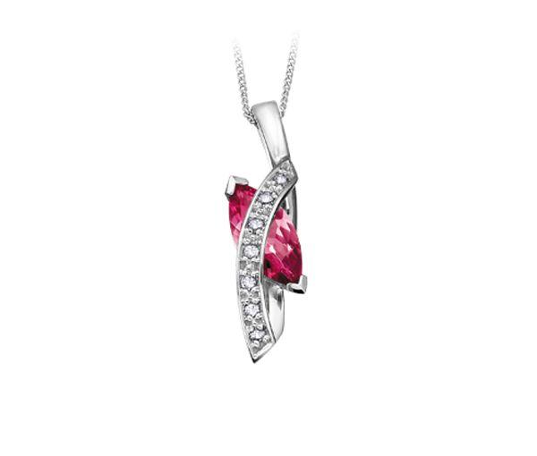 Pendentif adorable pour dame en or 10k blanc serti d'un topaze rose et de diamants