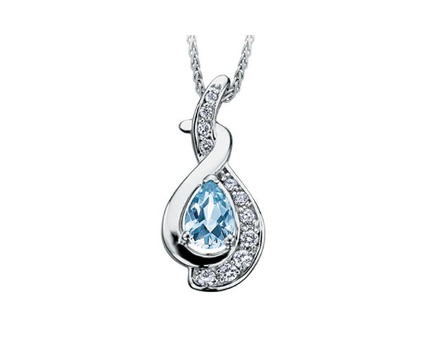 Joli pendentif pour dame en or 10k blanc serti d'une aigue marine et de diamants