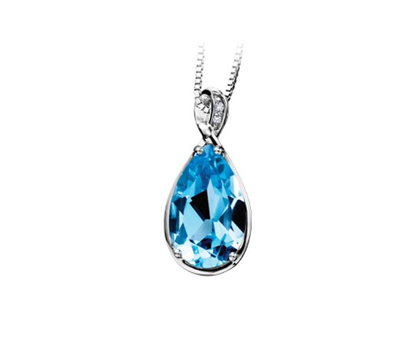 Pendentif 10k blanc topaze bleu 2=0,01 diamant si2 18''