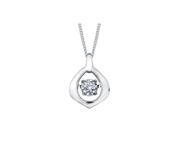 Pendentif 10k blanc 0,02 diamant i2 pulse