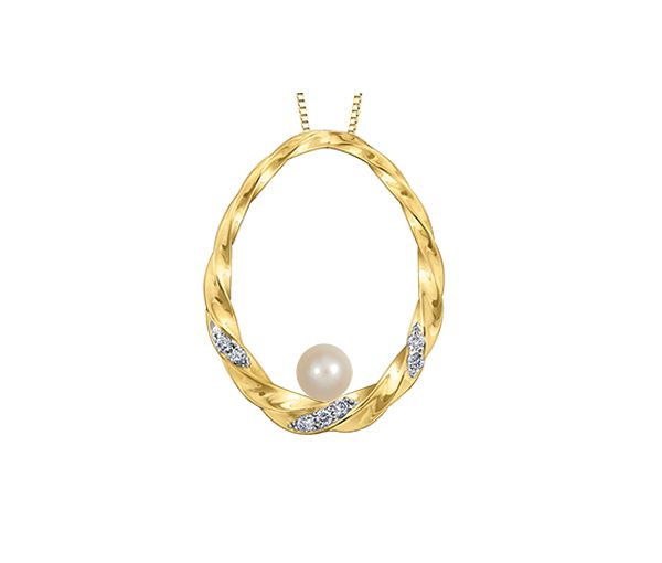 Charmant pendentif pour dame en or 10k serti de diamants et d'une perle