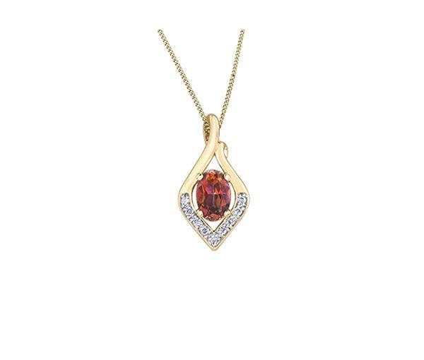 Pendentif adorable pour dame en or 10k serti d'un topaze sunrise et de diamants