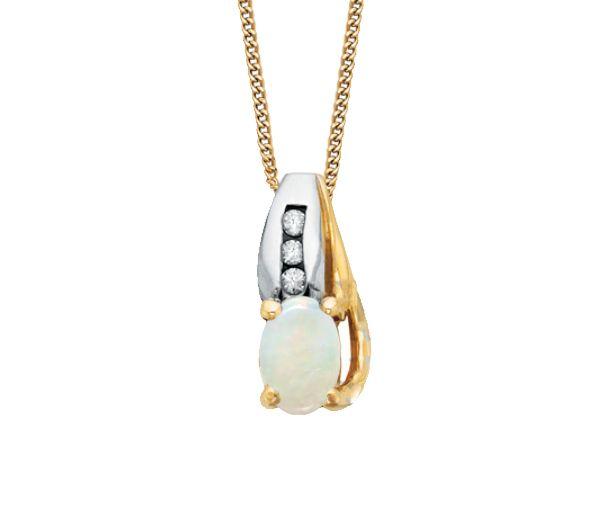 Joli pendentif pour dame en or 10k 2 tons serti d'une opale et de diamants