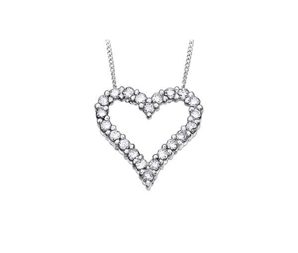 Pendentif coeur 10k 22=0,25 diamant 18''