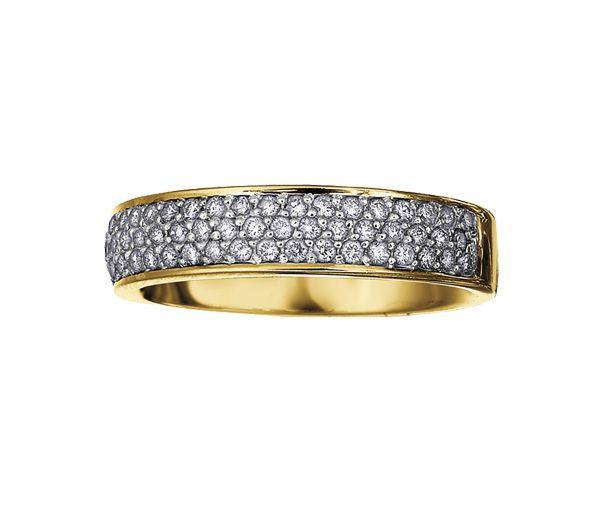 Magnifique jonc semi-éternité pour dame en or 14k serti de diamants