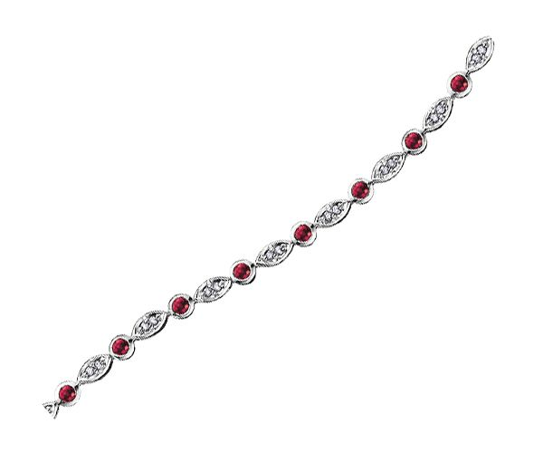 Bracelet 10k 18 rubis 37=0,20 diamants