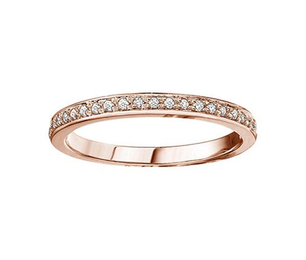 Délicat jonc semi-éternité pour dame en or 10k rose serti de diamants