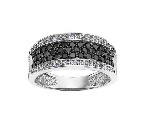 Superbe jonc pour dame en or 14k serti de diamants noirs et blancs
