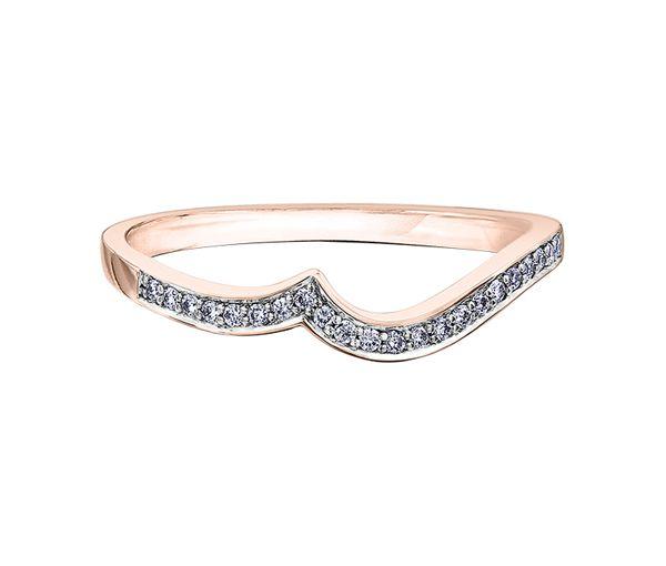 Joli jonc contour pour dame en or 10k rose serti de diamants