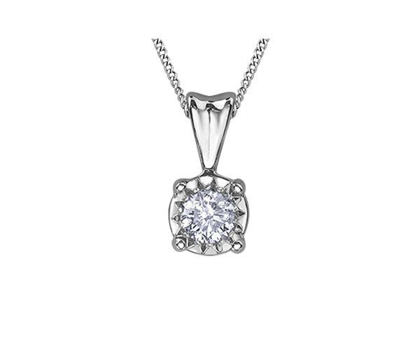Pendentif dame en or 10k blanc serti d'un diamant