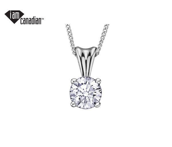Pendentif 14k 0,09 diamant canadien 18''