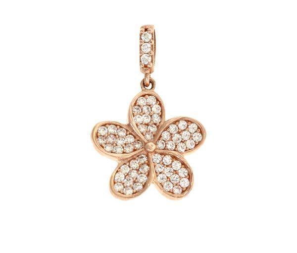Adorable pendentif fleur pour dame en or 10k rose serti de cubiques zirconias