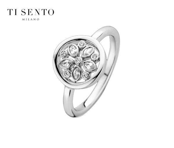 Exquise bague en forme de fleur pour dame en argent rhodié sertie de cubiques zirconias