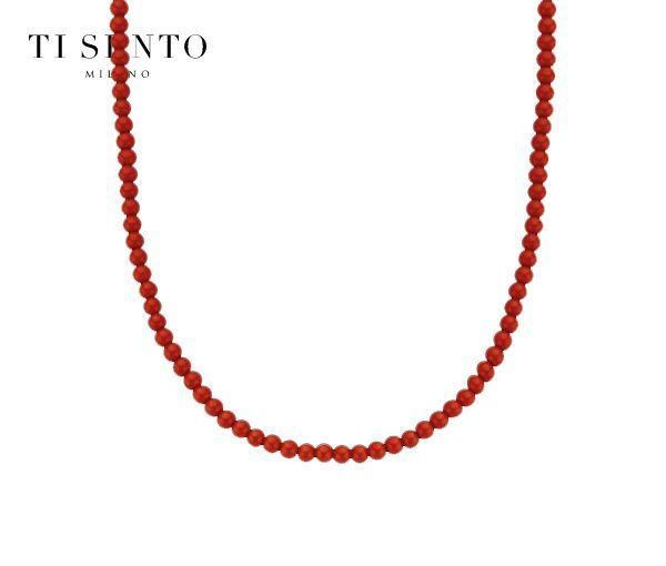 Coquet collier pour dame en argent rhodié et billes de corail rouge
