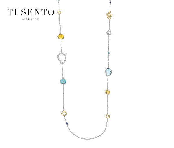 Magnifique collier pour dame en argent rhodié/pvd or serti de turquoise,cristaux et cubiques zirconias
