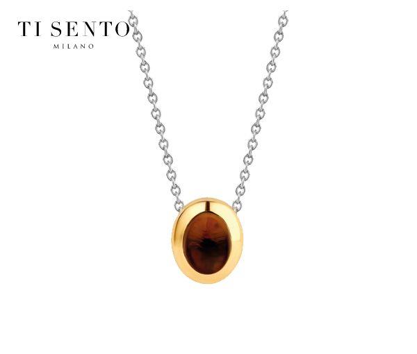 Joli collier pour dame en argent rhodié/pvd or serti d'un cristal brun