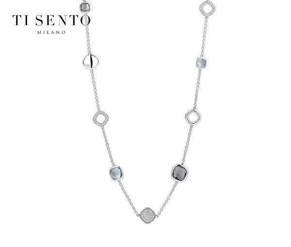 Collier magnifique pour dame en argent rhodié serti de cristaux gris et de cubiques zirconias