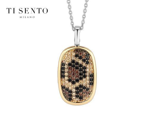 Joli pendentif à motif léopard pour dame en argent rhodié/pvd or serti de cubiques zirconias