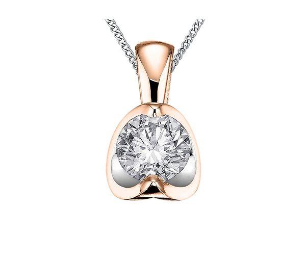 Pendentif délicat pour dame en or 10k 2t rose serti d'un diamant