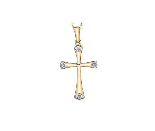 Pendentif croix 10k 4=0,03 diamant