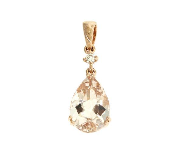 Pendentif classique pour dame en or 14k rose serti d'une morganite et d'un diamant