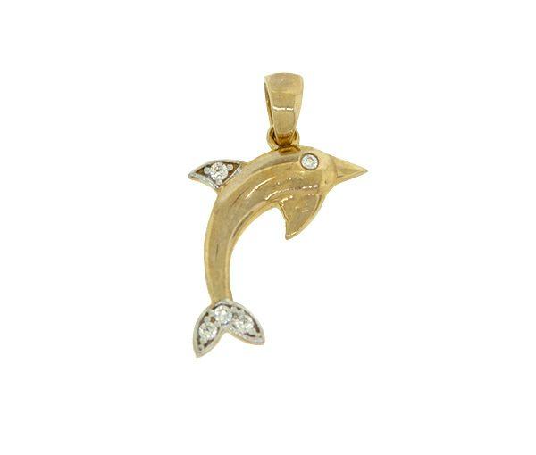 Pendentif joli dauphin pour dame en or 10k serti de cubiques zirconias