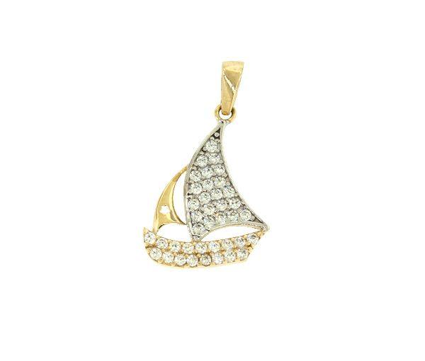 Superbe pendentif voilier pour dame en or 10k 2 tons serti de cubiques zirconias