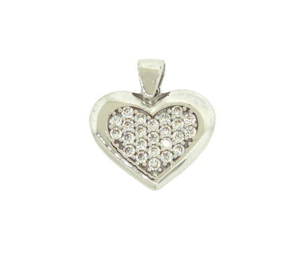 Pendentif joli coeur pour dame en or 10k blanc serti d'un pavé de cubiques zirconias