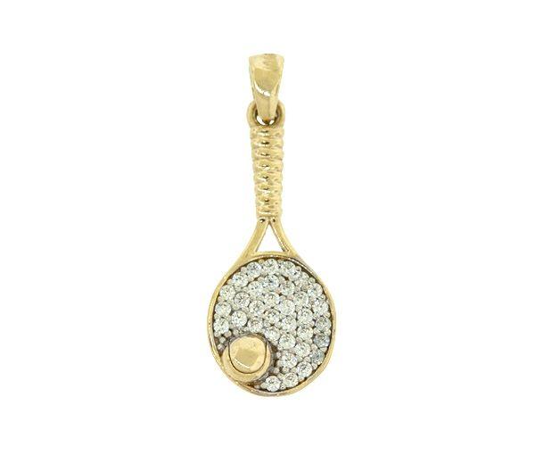 Beau pendentif raquette de tennis pour dame en or 10k serti de cubiques zirconias