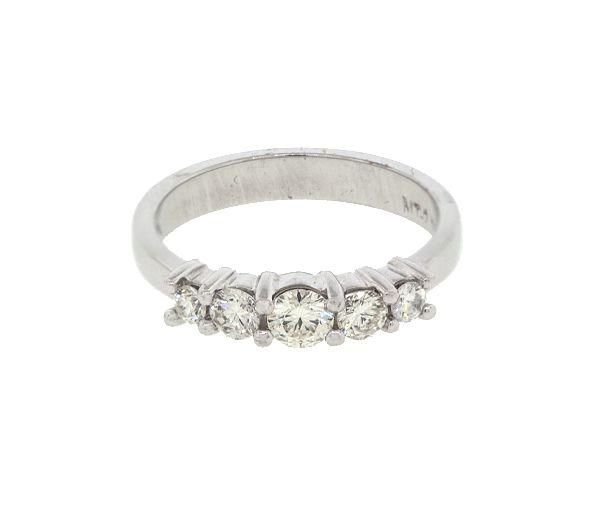 Superbe jonc semi-éternité pour dame en or 14k blanc serti de diamants