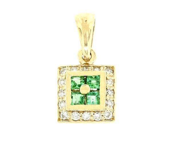 Magnifique pendentif pour dame en or 14k serti d'émeraudes et de diamants