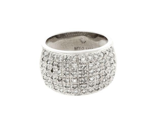 Superbe jonc pour dame en or 14k blanc serti de diamants