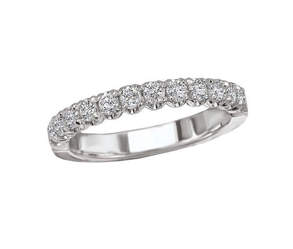 Magnifique jonc semi-éternité pour dame en or 14k blanc serti de diamants