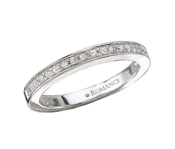 Superbe jonc semi-éternité pour dame en or 14k blanc serti de diamants<br>