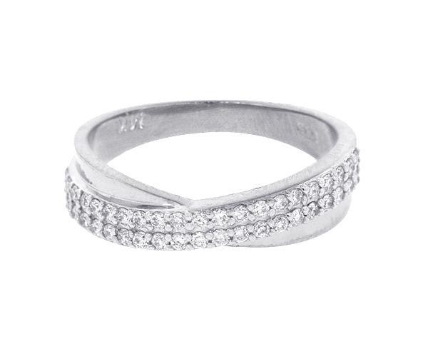 Magnifique jonc pour dame en or 14k blanc serti de diamants