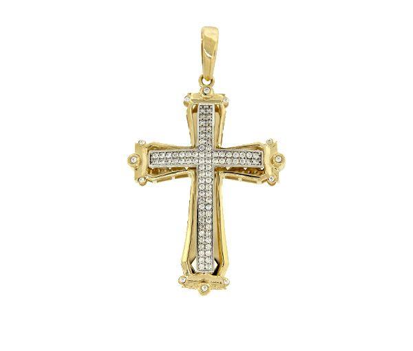 Pendentif magnifique croix unisexes en or 10k 2 tons serti de cubiques zirconias