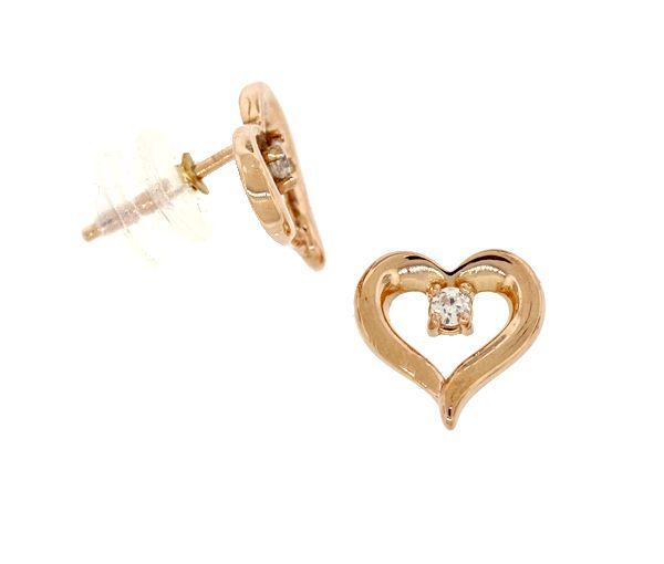 Boucles fixes coeur 10k r.2=0,06 diamant