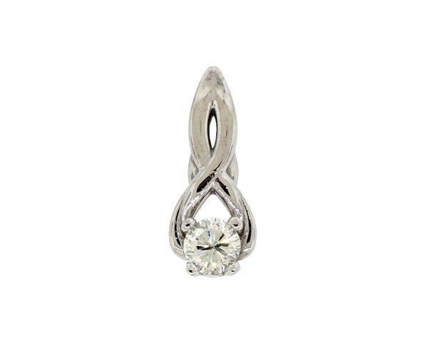 Pendentif en or 14k blanc serti d'un diamant