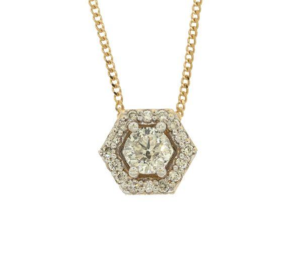 Pendentif 14k 0,52ct+14=0,13 diamant si1